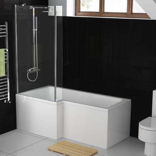 AquaSoak 1500mm L Shaped Shower Bath Left Hand